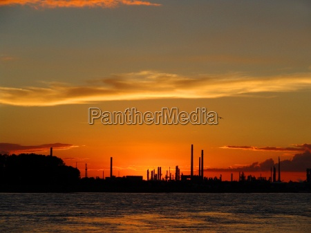 sun, sets, behind, industrial, plant - 268485