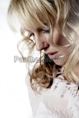 woman earnest feminine lady female face