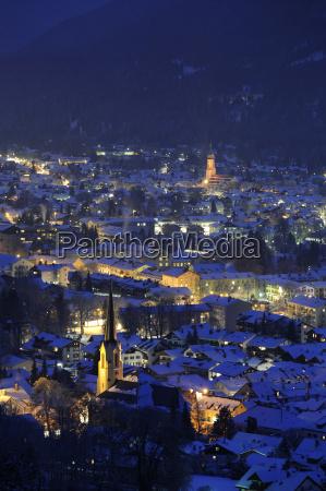 city town winter night nighttime night