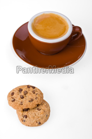 cup of espresso and cookies isolated