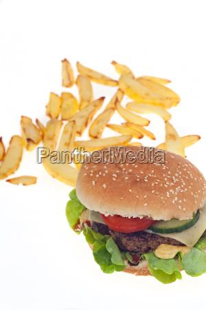 hamburger und pommes frites isoliert