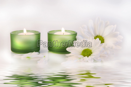 green candles and daisies near water