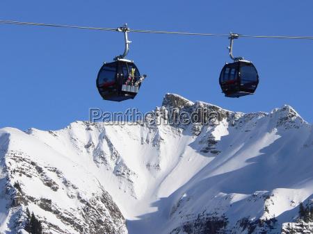 mountains winter gondolas encounter ski skiing