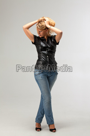 blonde woman in a leather jacket