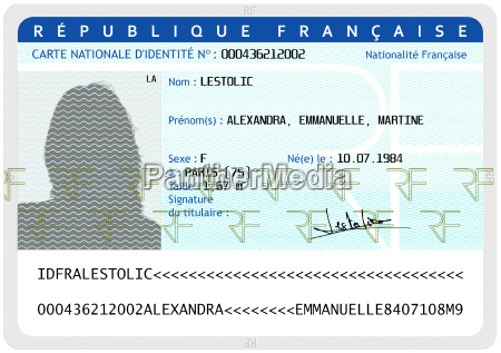 french national identity card female