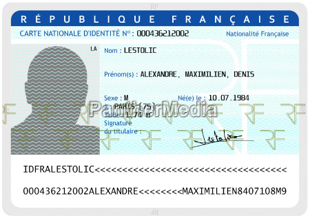 french national identity card male