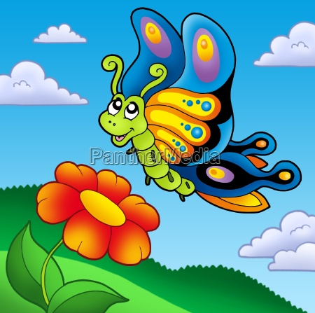 cute butterfly with red flower