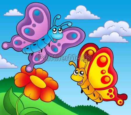 pair of butterflies with red flower