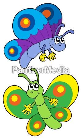 pair of smiling butterflies