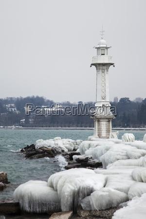 frozen geneva lighthouse