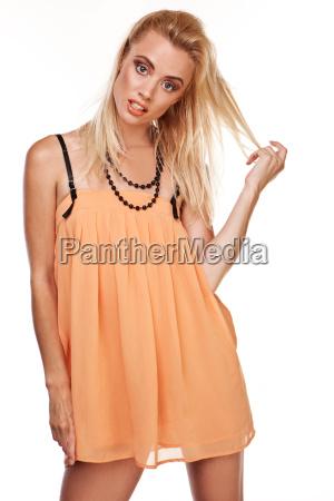 sexy woman in short chiffon dress