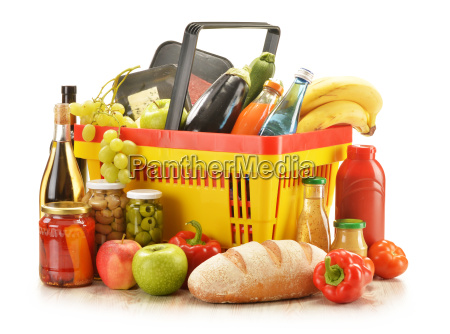 composition with grocery products in shopping