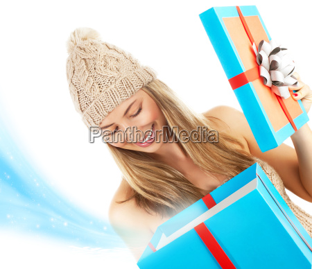 woman opened christmas present