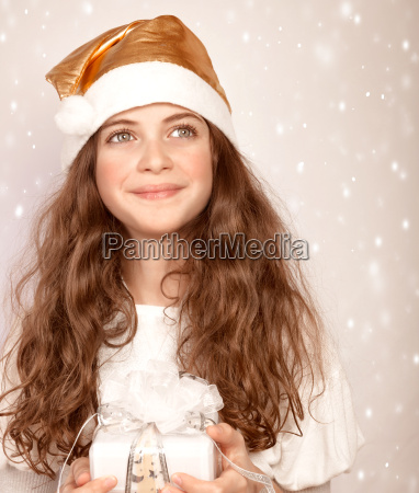 santa girl with present