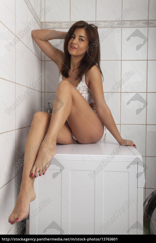 woman, in, underwear, on, a, washing - 13763601