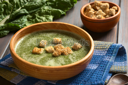 cream of chard soup with croutons