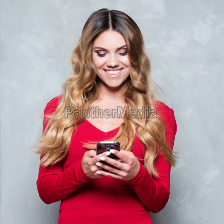 attractive young woman in a red