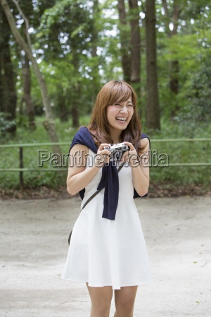 a woman in a kyoto park