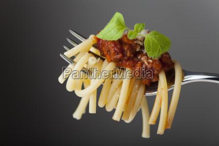 spaghetti bolognese auf einer gabel