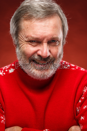 the expressive portrait on red background