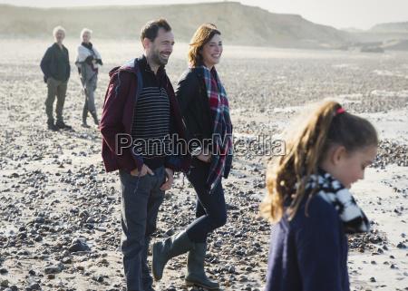multi generation family on sunny beach