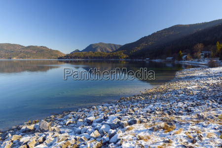 lake walchensee with hoar frost on