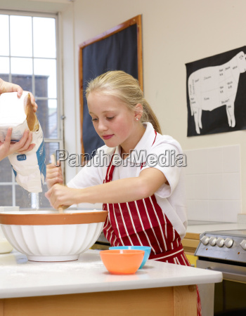 a girl cooking