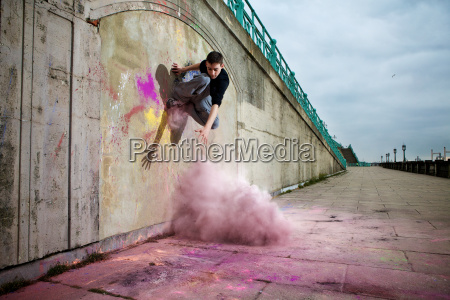 parkour athlete experimenting with movement and