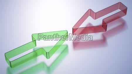 red and green arrow opposing each