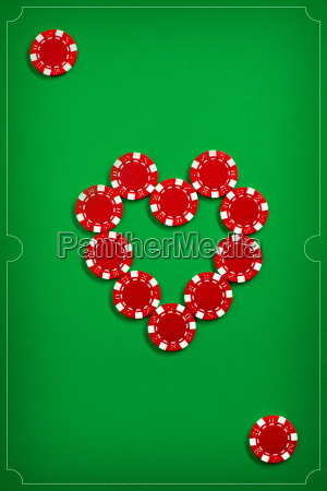 the poker chips on green background