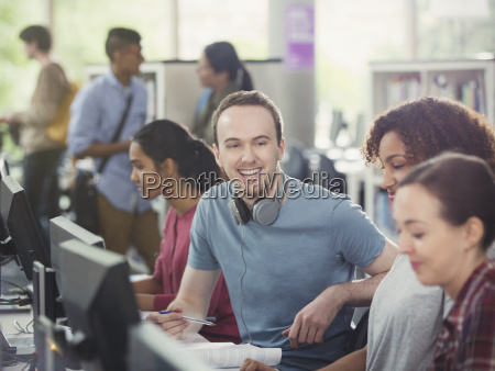 college students using computers in computer