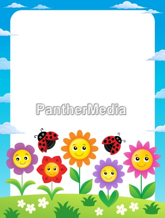 frame with flowers and ladybugs 1