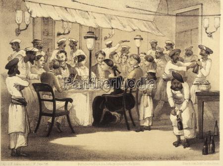 british colonials having dinner illustration from
