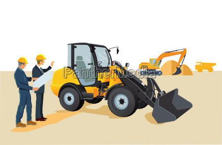 construction site with wheel loaders and