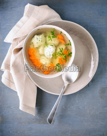 chicken soup on a table