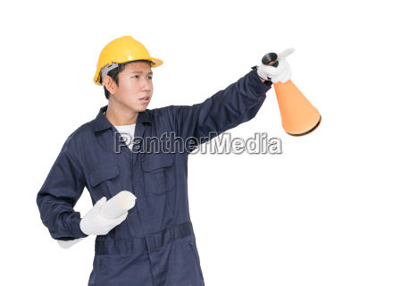 young worker shouting for announce through