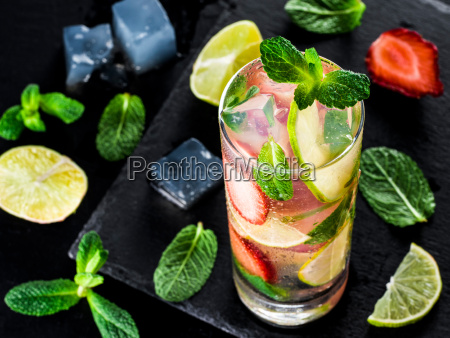 lemonade with strawberries lime and mint