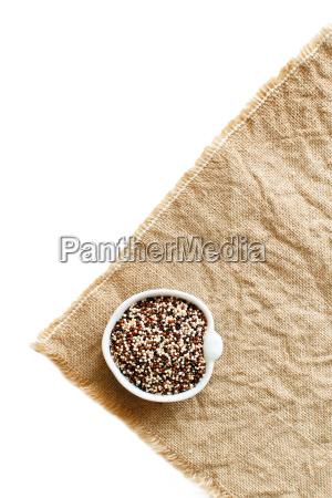 uncooked mixed quinoa grain